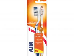 Aim Anti-Plaque Medium Οδοντόβουρτσα Μέτρια Βοηθά στην Προστασία από την Πλάκα & την Τερηδόνα, Διάφορα Χρώματα 2 Τεμάχια