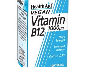 Health Aid Vitamin B12 1000mg Βιταμίνη B12 για την Καλή Λειτουργία του Νευρικού Συστήματος 100 veg. tabs