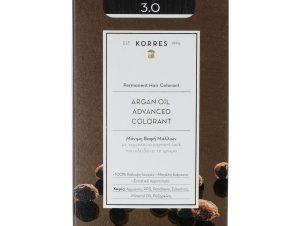 Korres Argan Oil Advanced Colorant Μόνιμη Βαφή Μαλλιών με Τεχνολογία Pigment-Lock που Κλειδώνει το Χρώμα 50ml – 3.0 ΚΑΣΤΑΝΟ ΣΚΟΥΡΟ ΦΥΣΙΚΟ