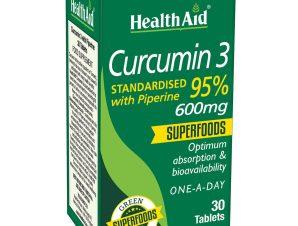 Health Aid Curcumin 3 600mg Συμπλήρωμα Διατροφής Αντιοξειδωτικής Κουρκουμίνης & Πιπερίνης για Μέγιστη Απορρόφηση 30 Tabs