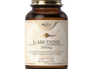 Sky Premium Life L-Arginine 500mg Συμπλήρωμα Διατροφής με Αμινοξύ L-Αργινίνη που Είναι Δομικό Στοιχείο των Πρωτεϊνών 60 Δισκία