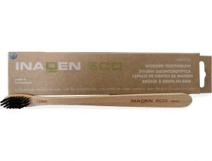 Inaden Eco Wooden Toothbrush Medium Μέτρια Ξύλινη Οδοντόβουρτσα με Βιολογικής Προέλευσης Ίνες 1 Τεμάχιο