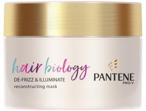 Pantene Hair Biology De-frizz & Illuminate Reconstructing Mask Μάσκα για Ξηρά ή Βαμμένα Μαλλιά που Φριζάρουν Εύκολα 160ml