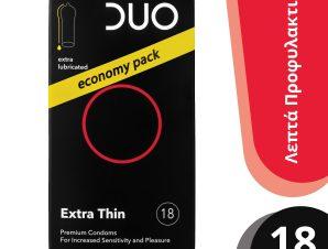Duo Premium Extra Thin Economy Pack Πολύ Λεπτά Προφυλακτικά 18 τεμάχια