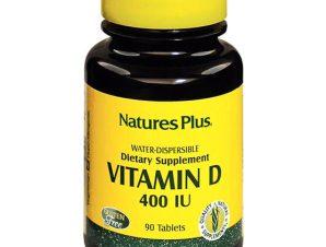 Nature's Plus Vitamin D 400lu Water-Dispersible Καλή Λειτουργία του Νευρικού Συστήματος Υγιή Οστά & Δόντια 90tabs