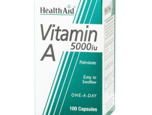 Health Aid Vitamin A (Palmitate) 5000 i.u Βοηθά στη Δημιουργία Δυνατής Κυτταρικής Μεμβράνης 100 Κάψουλες