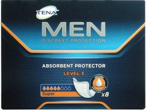 Tena Men Super Absorbent Protector Level 3 Προστασία για την Ανδρική Μέτριας Μορφής Ακράτεια 8Τμχ