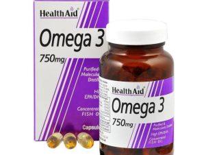Health Aid Omega 3 750mg Λιπαρά Οξέα EPA/DHA Συμπλήρωμα Διατροφής που Συμβάλει στη Φυσιολογική Λειτουργία της Καρδιάς 30tabs